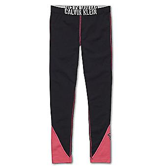 Calvin Klein Girls Intense Power Leggings, Black / Pink Panels , XX-Large (14-16)