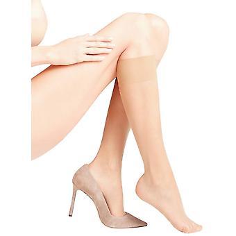 Falke Seidenglatt 15 Den transparant glanzend knie hoog panty's - Golden