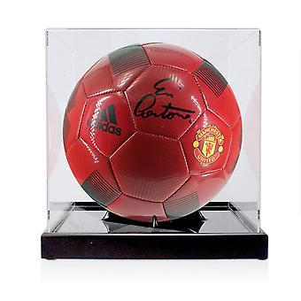 Eric Cantona Signed Red Manchester United Football In Display Case