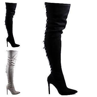 Womens Long Fashion Lace Back Stilettos Dress Long Thigh High High Heels UK 3-10