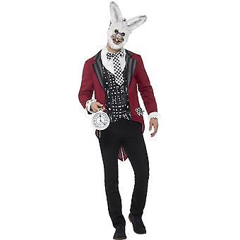 Deluxe hvit kanin drakt, rød, med jakke, Mock skjorte, EVA maske & Pocket se