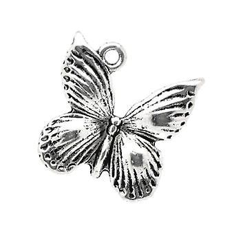 Packet 10 x Antique Silver Tibetan 18mm Butterfly Charm/Pendant ZX10300