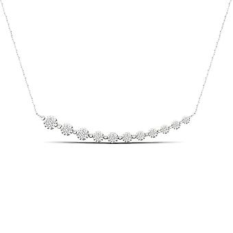 IGI Certified 10K White Gold 0.25Ct TDW Natural Diamond Journey Necklace
