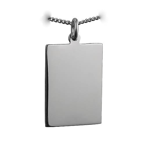 Silver 25x18mm plain rectangular Disc with a curb Chain 22 inches