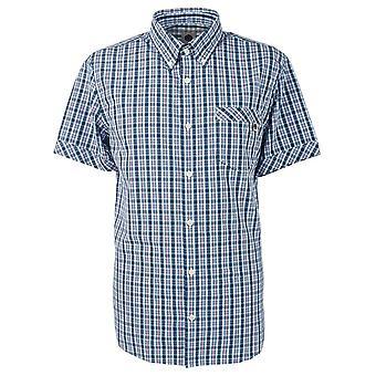 Pretty Green Slim Fit Checked Short Sleeve Navy Shirt