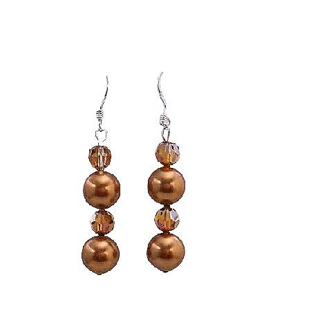 Swarovski Copper Crystals Copper Pearls Earrings Silver 92.5 Earrings