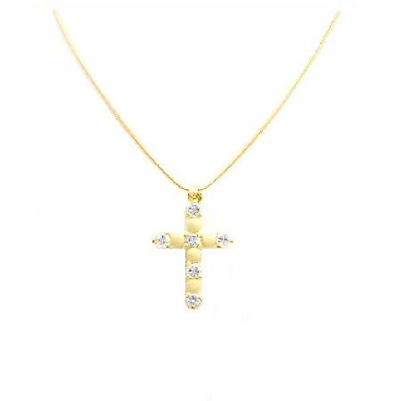 Dainty Cross Pendant in Micron Gold & Embedded Swiss CZ Cross Pendant