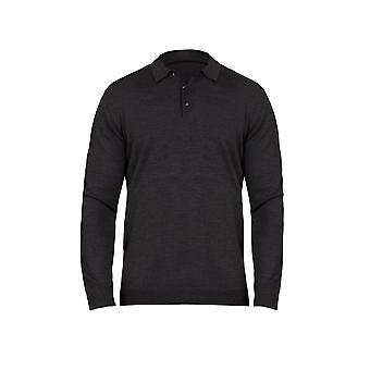 Long Sleeve Polo Knit - Charcoal
