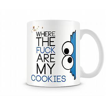 Decorativos de la escritura donde la f ** k son mi taza de texto impreso de las Cookies