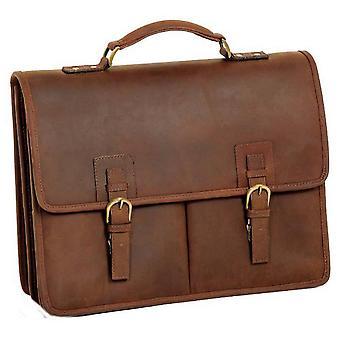 Ashwood Leather Chelsea Veg Tan Gareth Heavy Duty Briefcase - Mud Brown