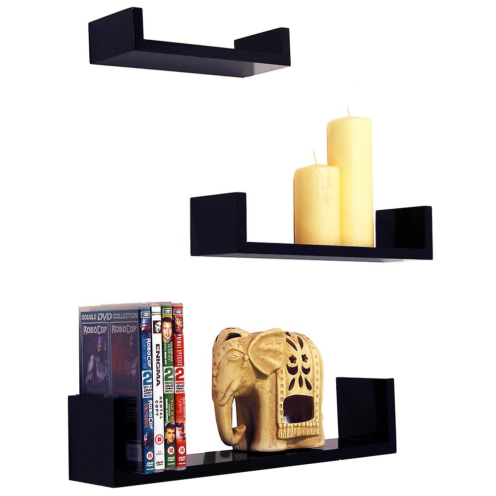 MelodyWall Storage Display 3 Set Shelves Of Mounted Floating Gloss Black m0wNv8nO