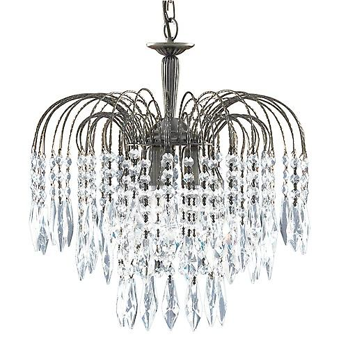 Searchlight 8473-3AB Waterfall 3 Light Antique Brass Crystal Pendant