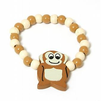 The Olivia Collection Childrens Wooden Beads Elasticated Monkey Bracelet