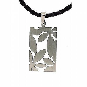 TOC Unisex Cut out Design Stainless Steel Pendant On Plaited 18