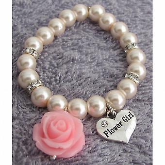 3690b485022b Harpiks Rose Flower Armbånd Flower pige gave Blush Pink perle armbånd