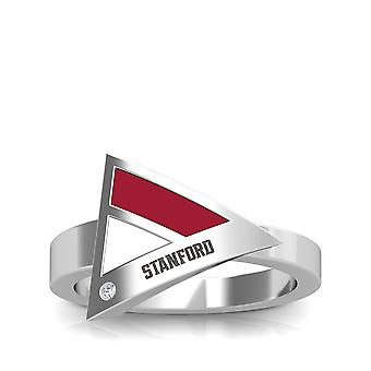 Stanford University Stanford Engraved Diamond Geometric Ring In Red And White