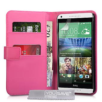 YouSave HTC Deseo 816 LeatherEffect cartera caso rosa