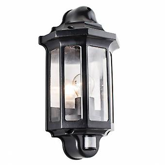 Pir Outdoor Wall Light Satin Black Paint, Clear Polycarbonate Ip44