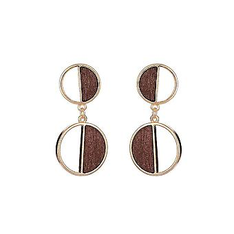 Jewelcity Sunkissed Womens/Ladies Double Disc Wood Geo Earrings