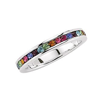 Jewelco London Rhodium Plated Sterling Silver Multi Coloured Round Brilliant Cubic Zirconia Rainbow Eternity Ring