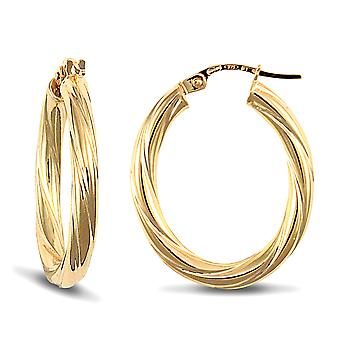Jewelco London Ladies 9ct Yellow Gold Twisted Oval 3mm Hoop Earrings