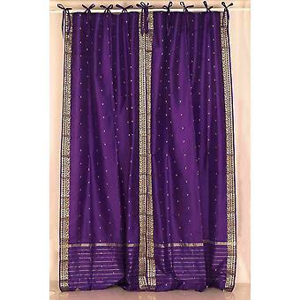 Purple  Tie Top  Sheer Sari Curtain / Drape / Panel  - Pair