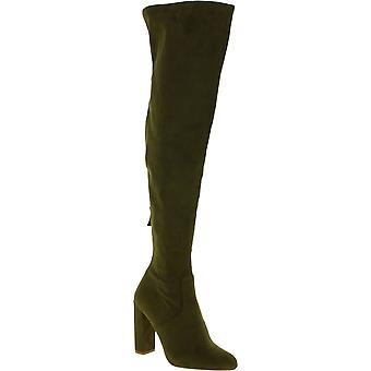 Steve Madden Women's Fersen Overknee Stiefel in grün sued Effekt Stoff