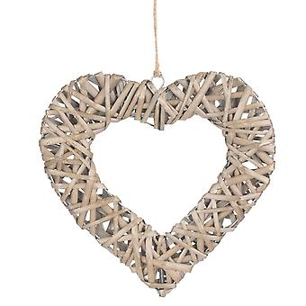 Medium Flat Open Wicker Heart