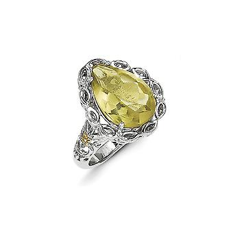 925 Sterling Silver With 14k Lemon Quartz Ring - Ring Size: 6 to 8