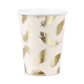 Gold Feather Paper Cups Pale Pink x 6 - Partyware