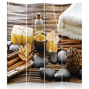 Room Divider, 4 Panels, Double-Sided, 360 ° Rotatable, Canvas, Spa Accessories