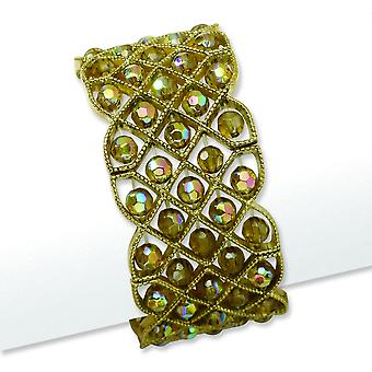 Messing-tone Olive Aurora Borealis Crystal Stretch armbånd