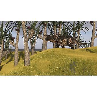 Einiosaurus i en graskledd feltet plakatutskrift