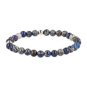FUNKYPEARLS jewelry - 6 mm stone Beads Bracelet 19 cm blue white