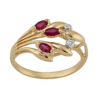9ct Yellow Gold 0.24ct Ruby & Diamond modern blommig Ring