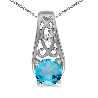 10k White Gold Round Blue Topaz And Diamond Pendant with 16