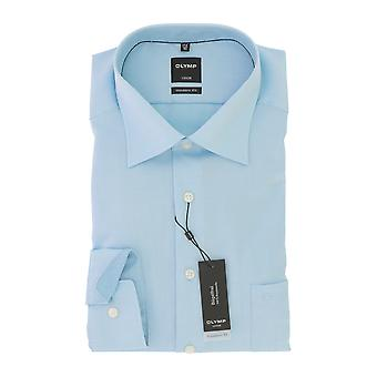 Olympus Luxor mens shirt turquoise modern fit Kent collar non-iron Gr. 41