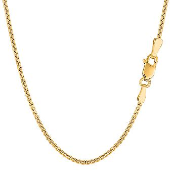 14k Yellow Gold Round Box Chain Necklace, 1.4mm