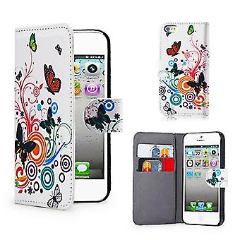 Design Book Leather Case Cover For Apple iPod Touch 5 - Colour Butterfly