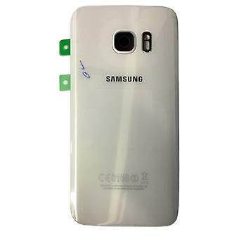 Samsung battery door for GH82 11384D Galaxy S7 G930 G930F + adhesive pad white