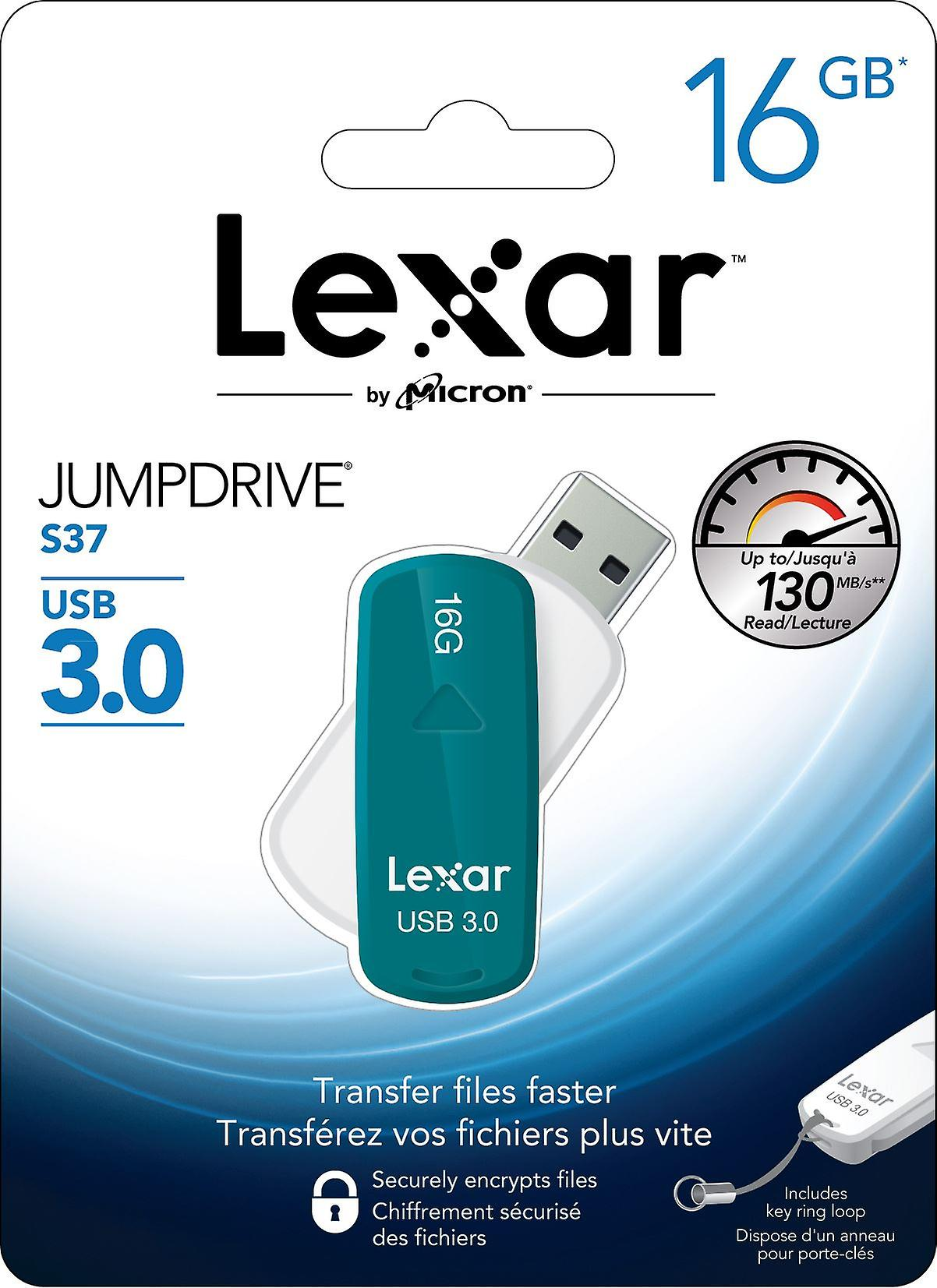 16GB Lexar JumpDrive S37 USB 3.0 Flash Drive. Stylish, swivel design with automatically retractable connector and key ring loop. LJDS37-16GABEU