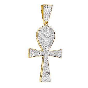 Premium Bling - plata de ley 925 Ankh Cruz colgante oro