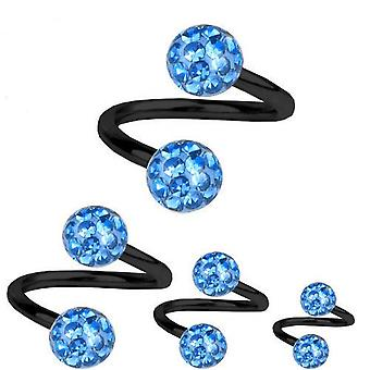 Spiral Twist Piercing Black Titanium 1,6mm, Multi Crystal Ball Light Blue | 8-12