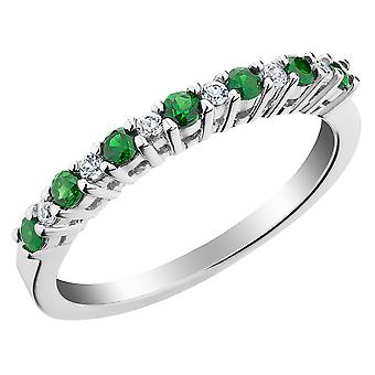 Created Emerald and White Sapphire Ring in Sterling Silver