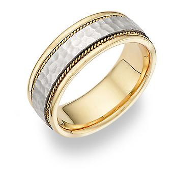 Brushed Hammered Wedding Band in 14K Two-Tone Gold