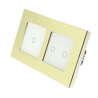 I LumoS Gold Brushed Aluminium Double Frame 3 Gang 1 Way Touch Dimmer LED Light Switch White Insert