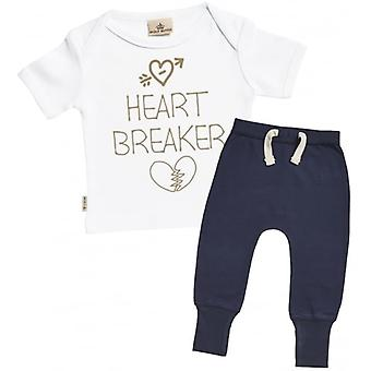 Spoilt Rotten Heart Breaker Baby T-Shirt & Navy Joggers Outfit Set