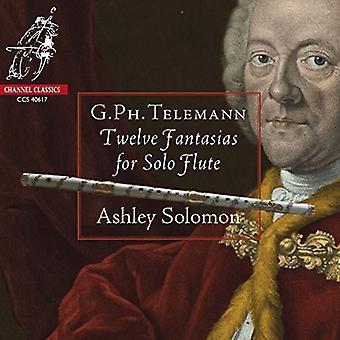 Telemann / Solomon, Ashley - 12 Fantasias for Solo fløjte [CD] USA import