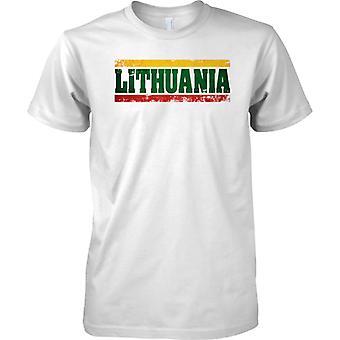 Nazwa efekt flaga kraju Litwa Grunge - koszulki męskie