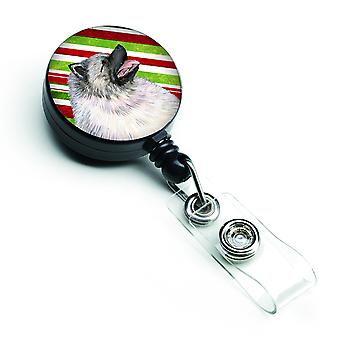 Keeshond Candy Cane Holiday Christmas Retractable Badge Reel